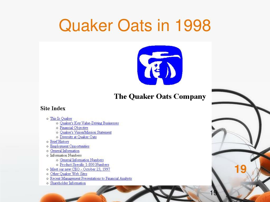 Quaker Oats in 1998