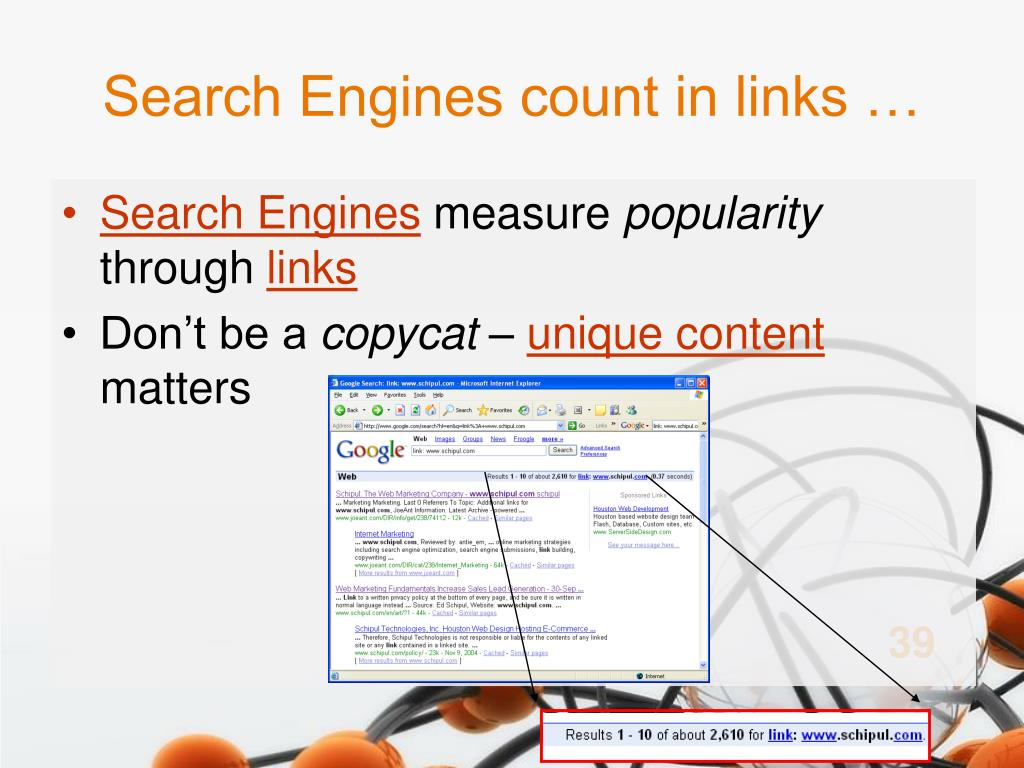 Search Engines count in links …