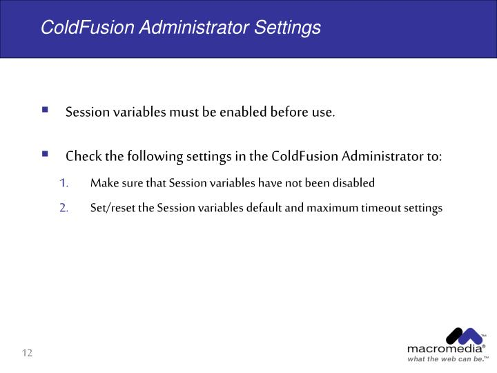 ColdFusion Administrator Settings