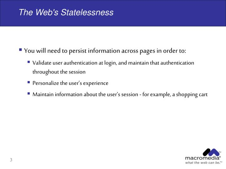 The web s statelessness