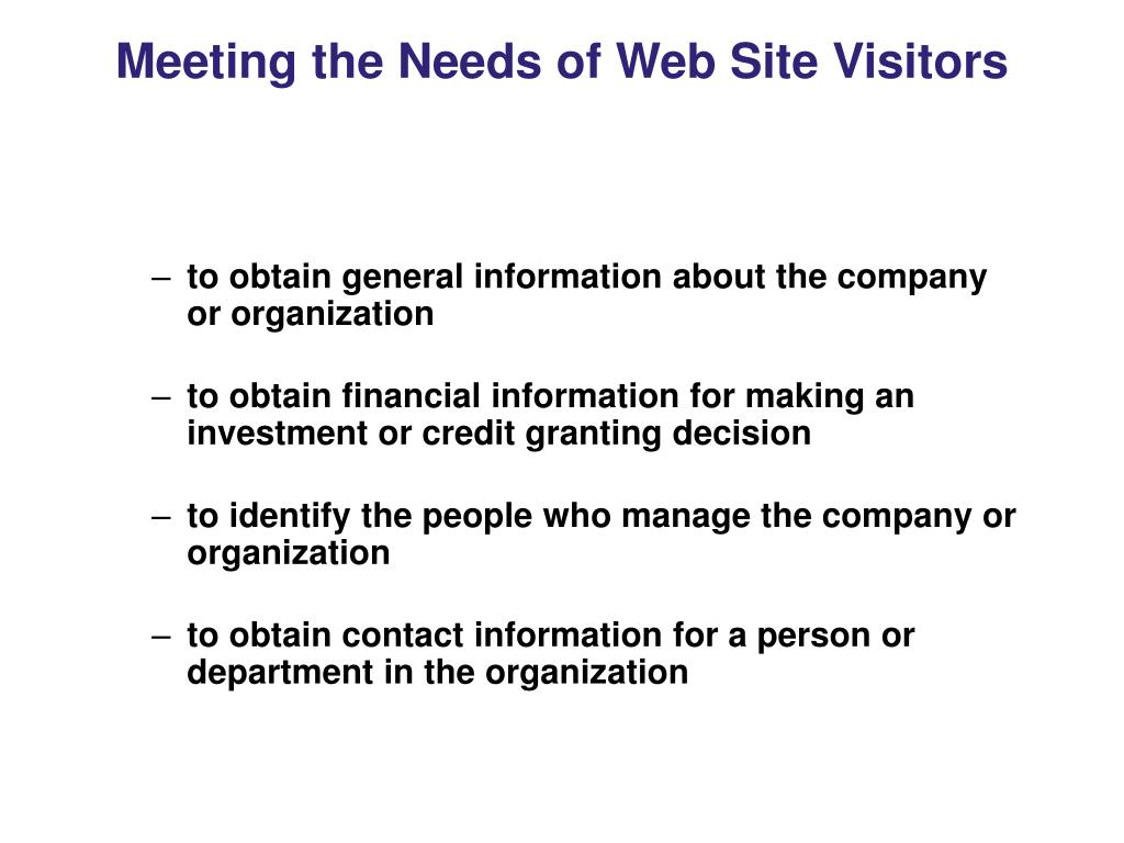 Meeting the Needs of Web Site Visitors