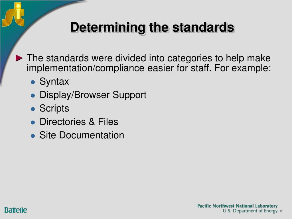 Determining the standards