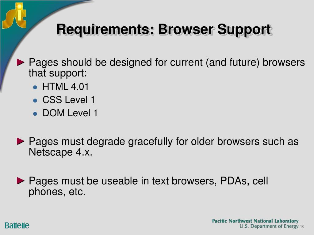 Requirements: Browser Support