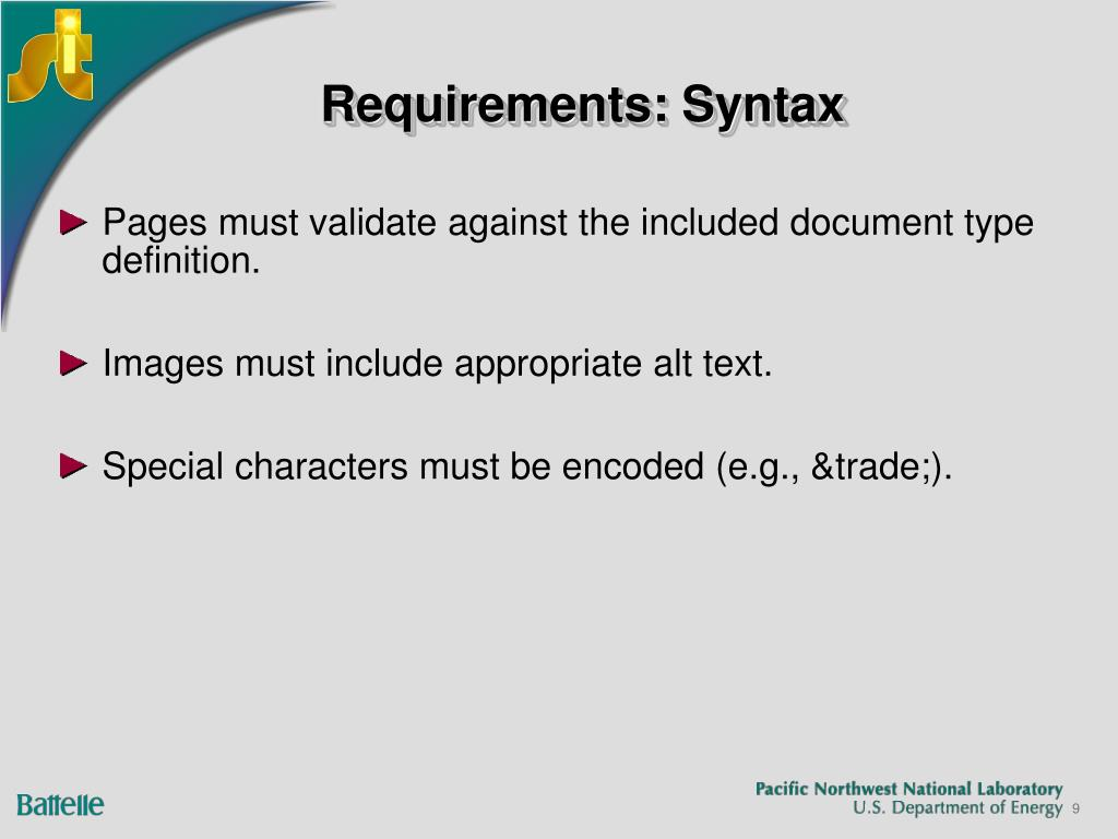 Requirements: Syntax