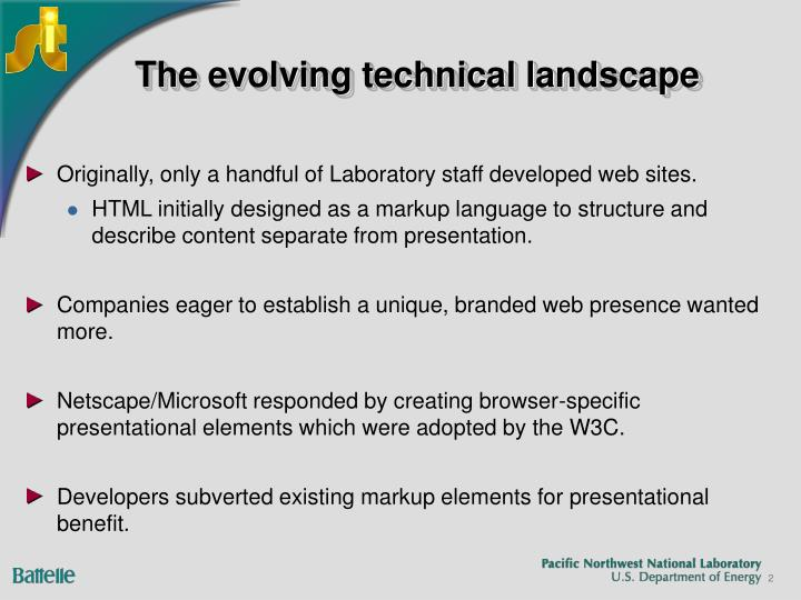 The evolving technical landscape