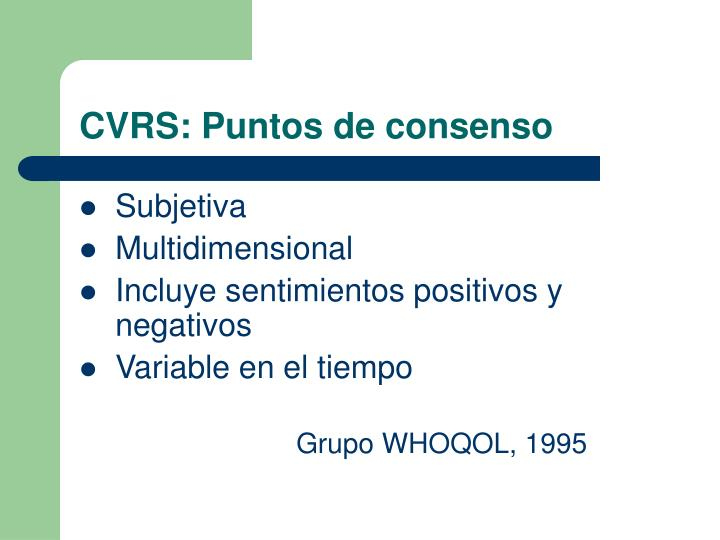 CVRS: Puntos de consenso