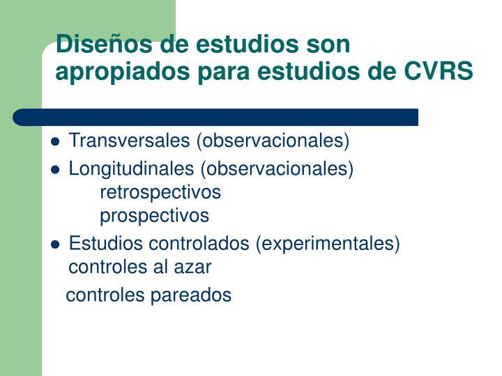 Diseños de estudios son apropiados para estudios de CVRS