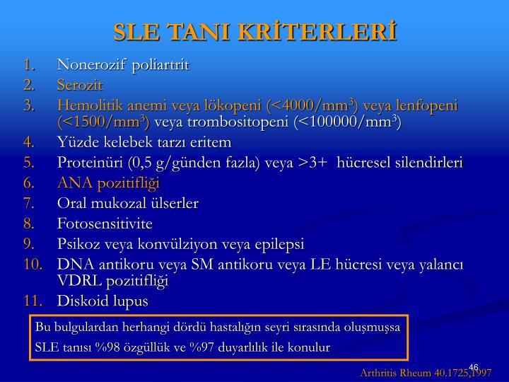 SLE TANI KRİTERLERİ