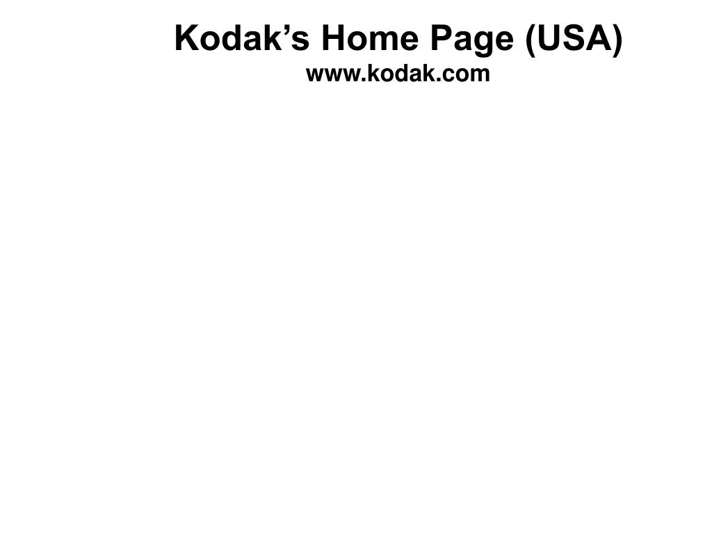 Kodak's Home Page (USA)