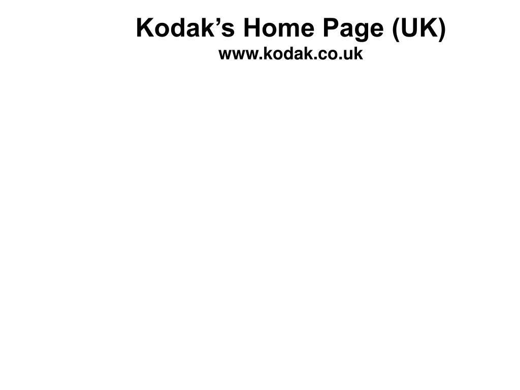 Kodak's Home Page (UK)