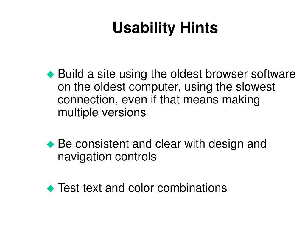 Usability Hints