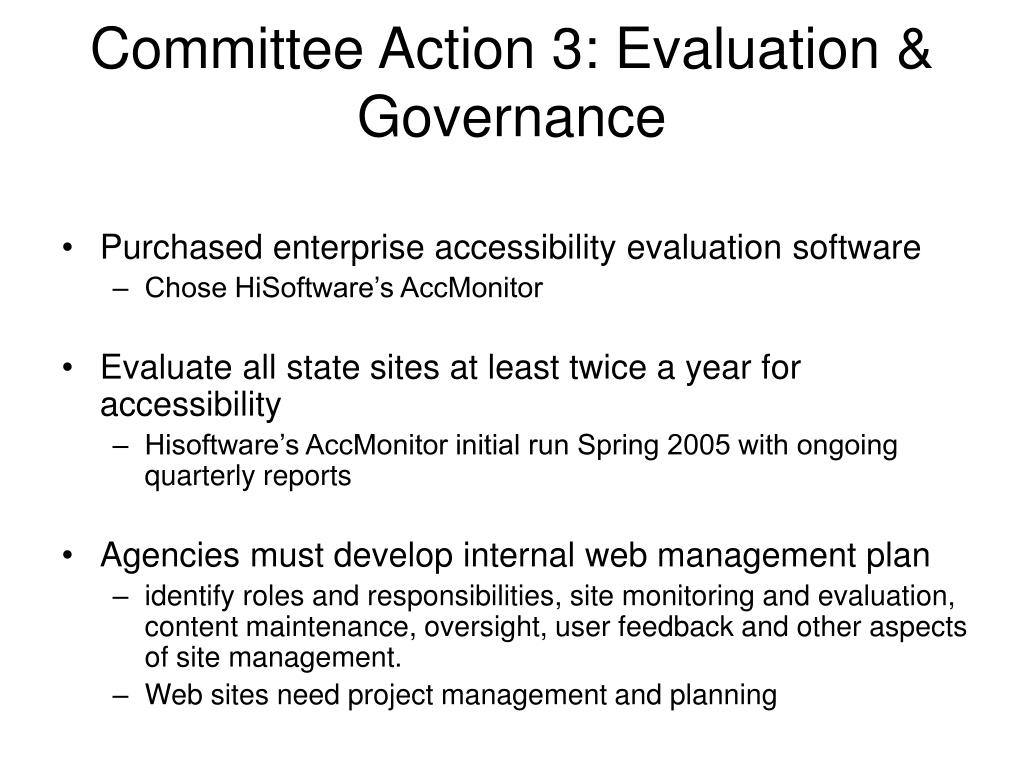 Committee Action 3: Evaluation & Governance