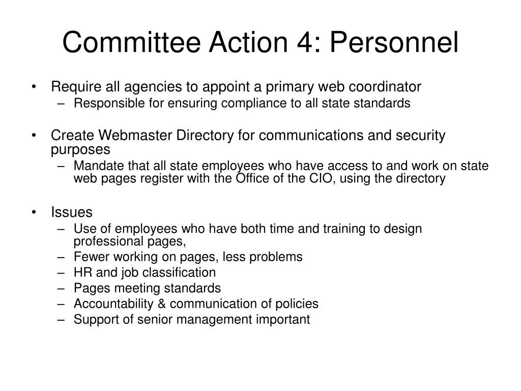 Committee Action 4: Personnel