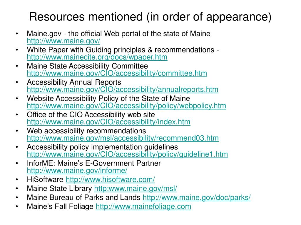 Resources mentioned (in order of appearance)