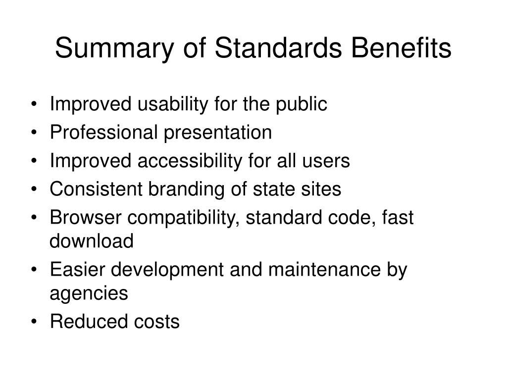 Summary of Standards Benefits