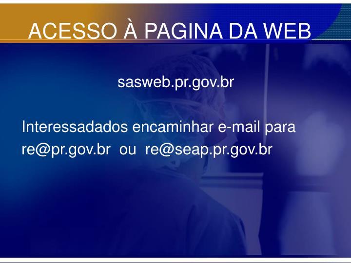 ACESSO À PAGINA DA WEB