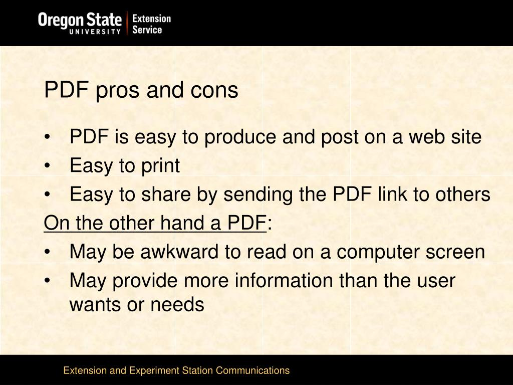 PDF pros and cons
