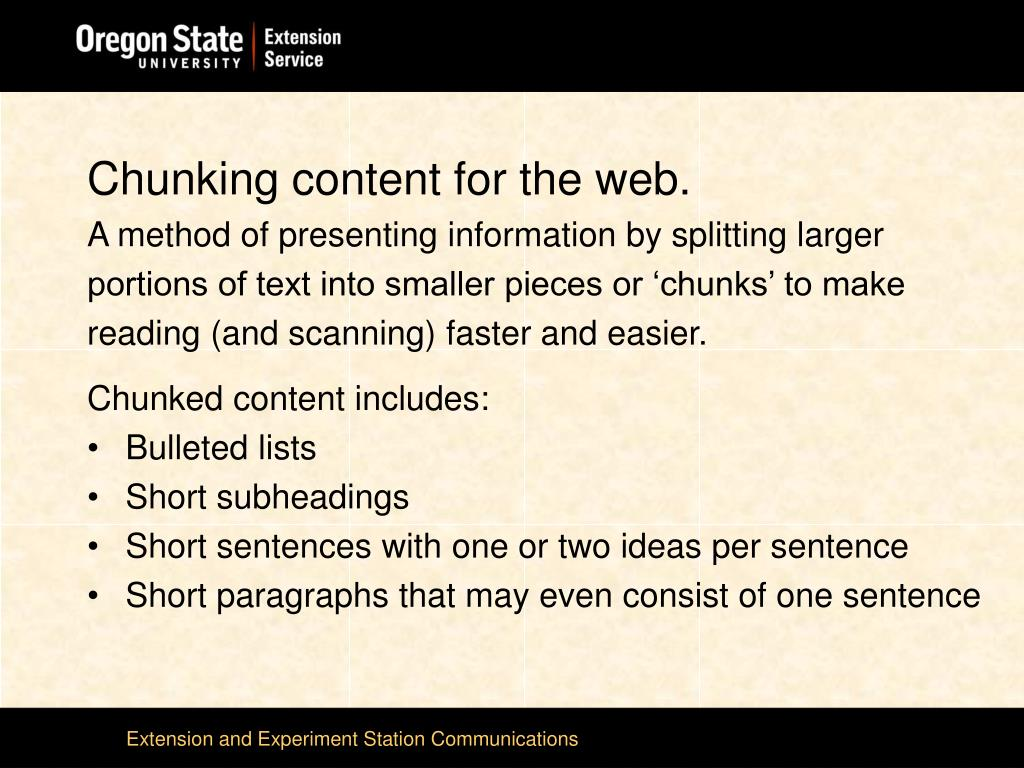 Chunking content for the web.