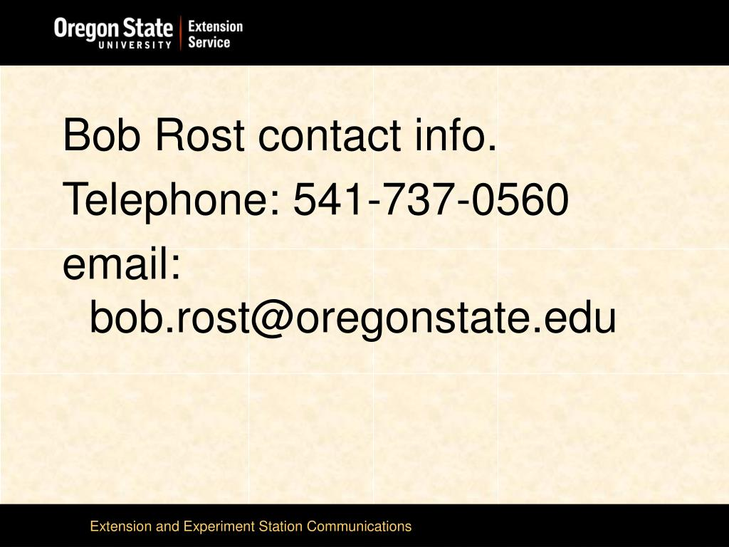Bob Rost contact info.