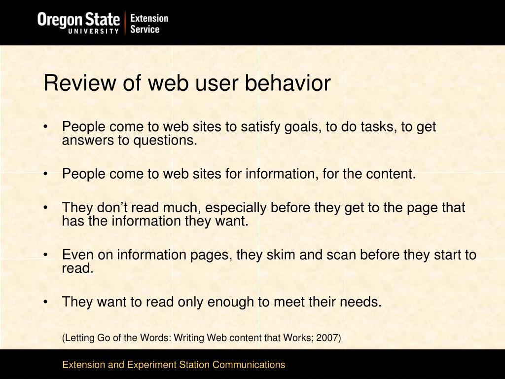 Review of web user behavior