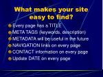 what makes your site easy to find