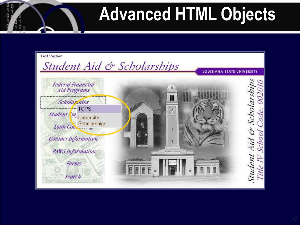 Advanced HTML Objects