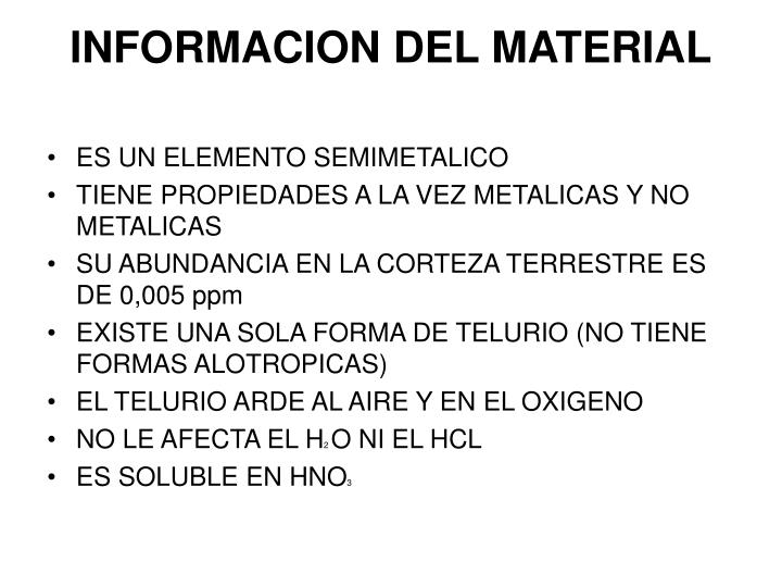 INFORMACION DEL MATERIAL