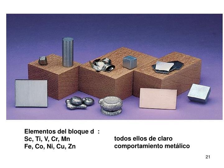 Elementos del bloque d  :
