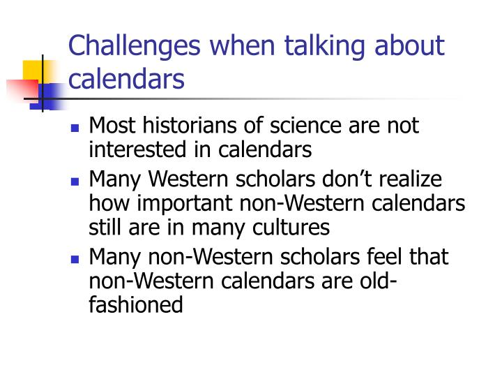 Challenges when talking about calendars