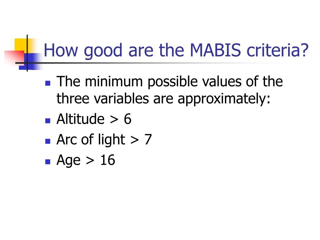 How good are the MABIS criteria?