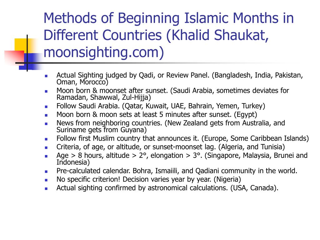 Methods of Beginning Islamic Months in Different Countries (Khalid Shaukat,  moonsighting.com)