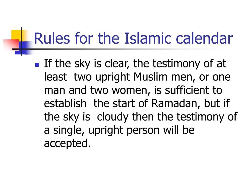 Rules for the Islamic calendar