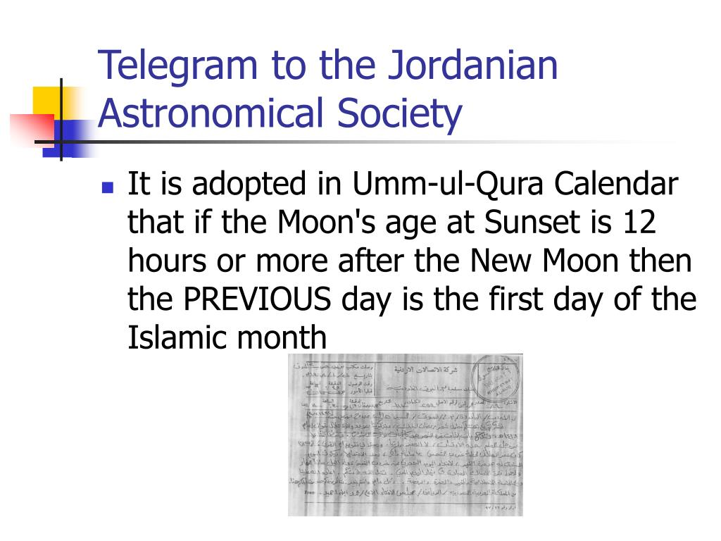 Telegram to the Jordanian Astronomical Society