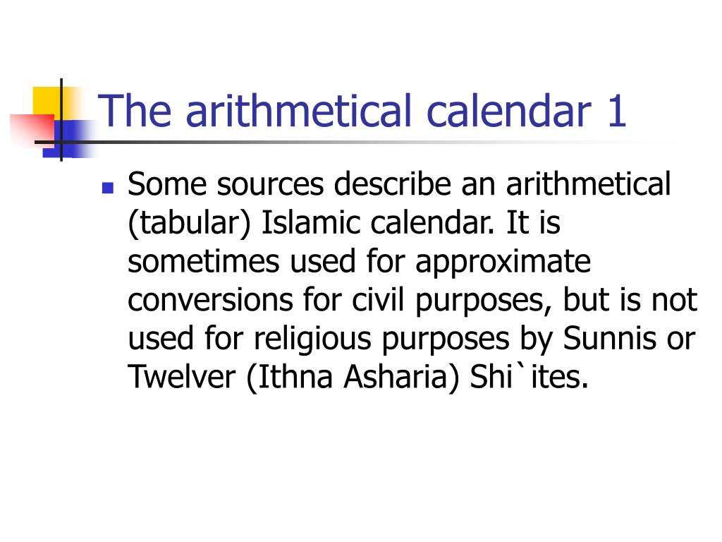 The arithmetical calendar 1