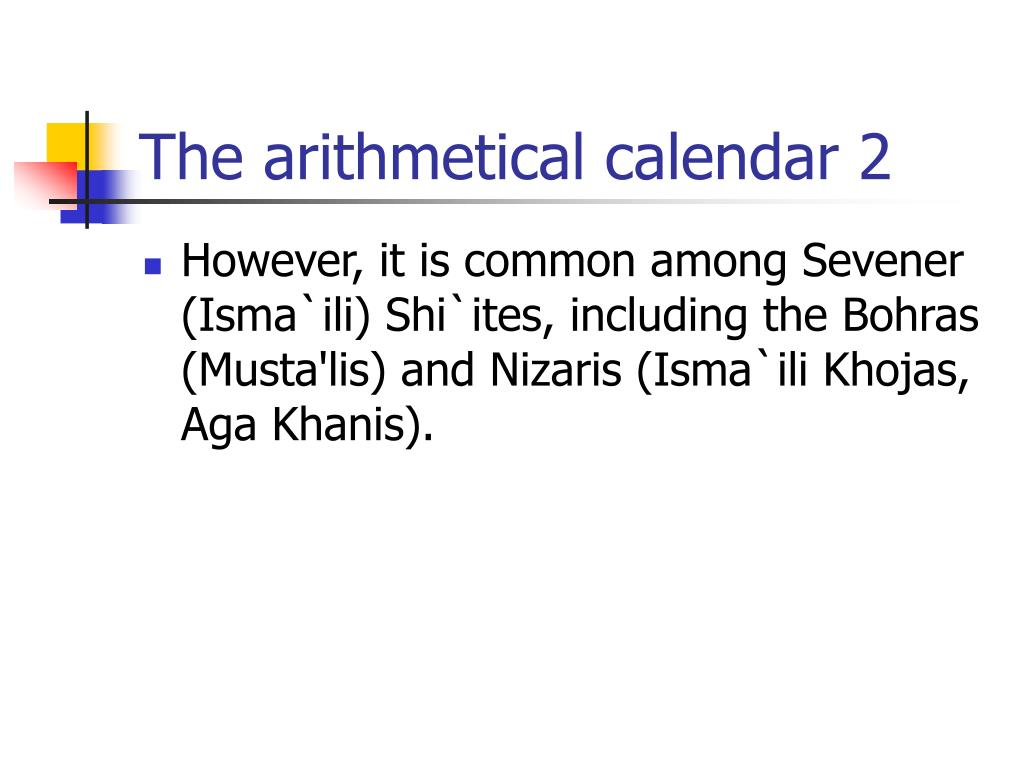 The arithmetical calendar 2