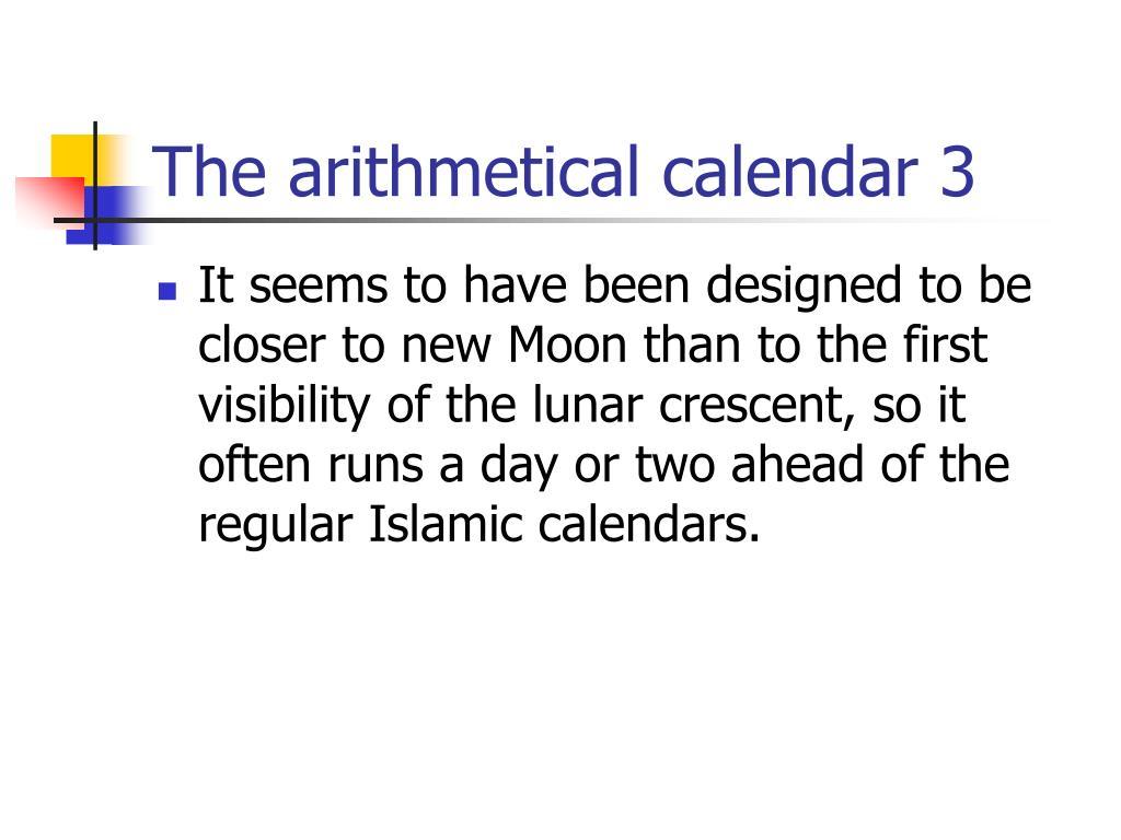 The arithmetical calendar 3