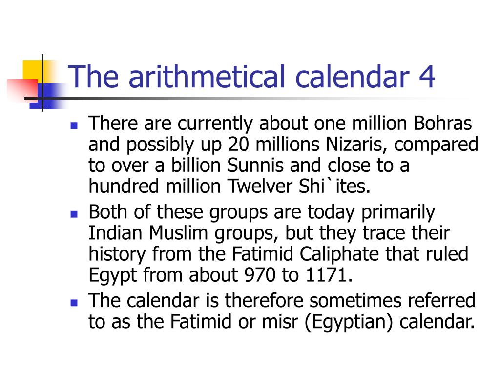 The arithmetical calendar 4