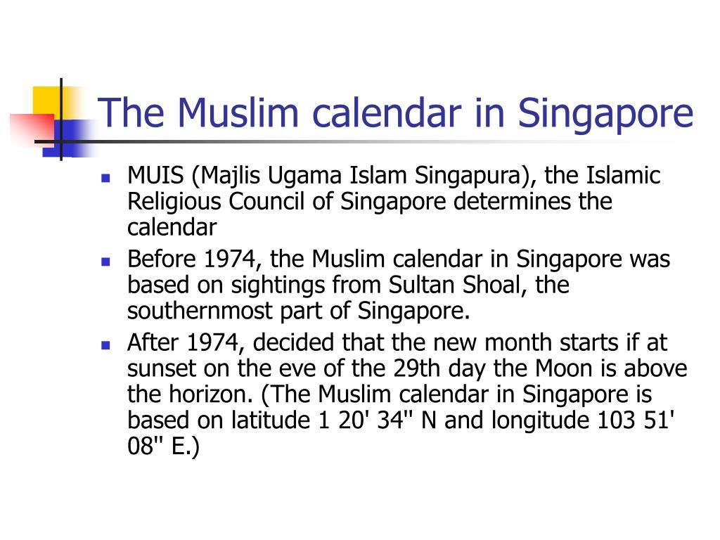 The Muslim calendar in Singapore