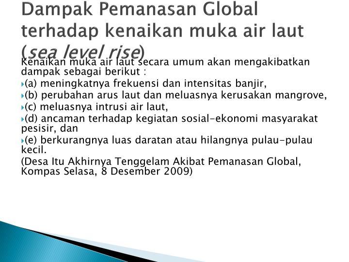Dampak Pemanasan Global terhadap kenaikan muka air laut (