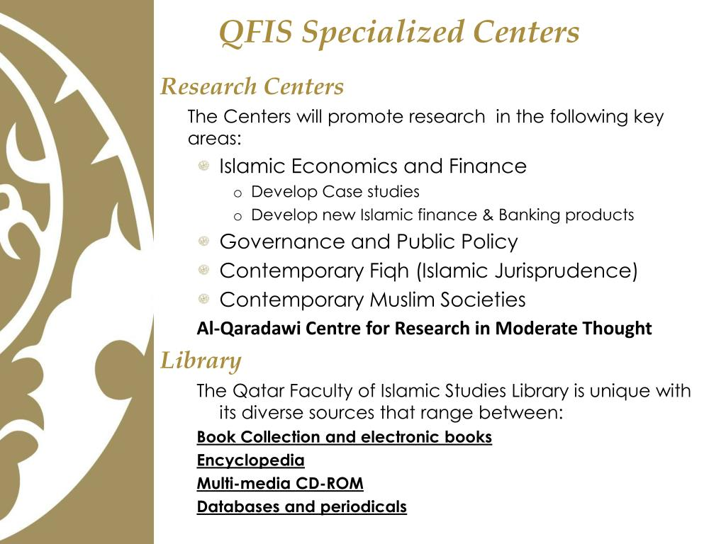 QFIS Specialized Centers