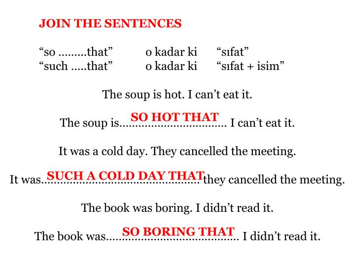 JOIN THE SENTENCES
