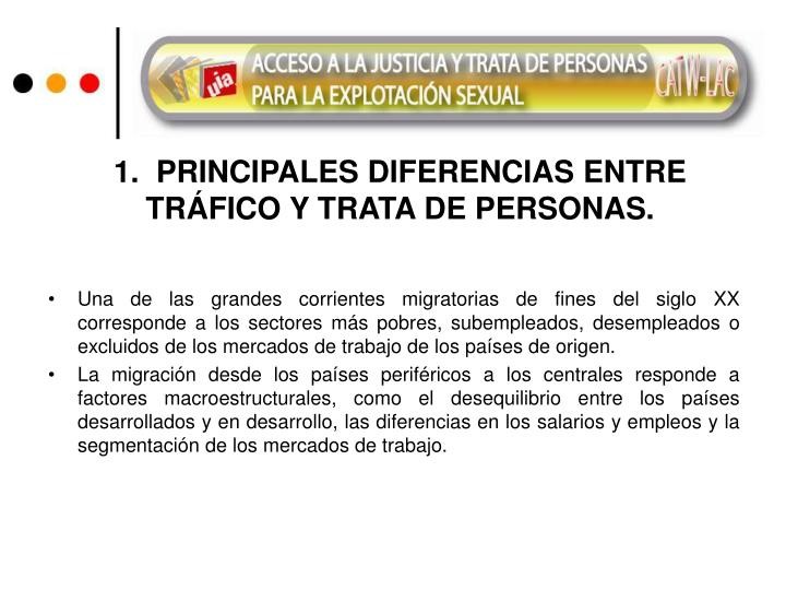 1.  PRINCIPALES DIFERENCIAS ENTRE TRÁFICO Y TRATA DE PERSONAS.