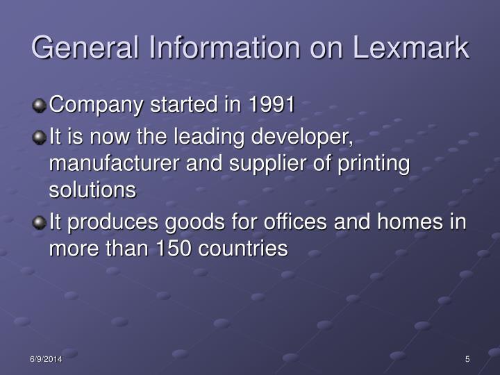 General Information on Lexmark