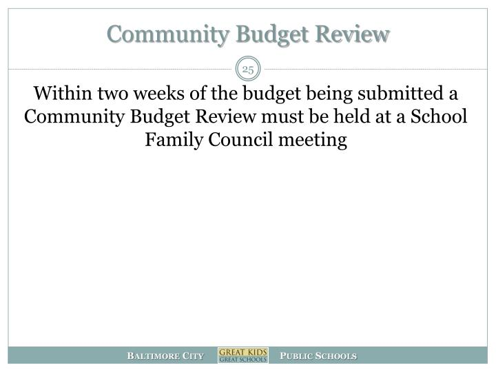 Community Budget Review
