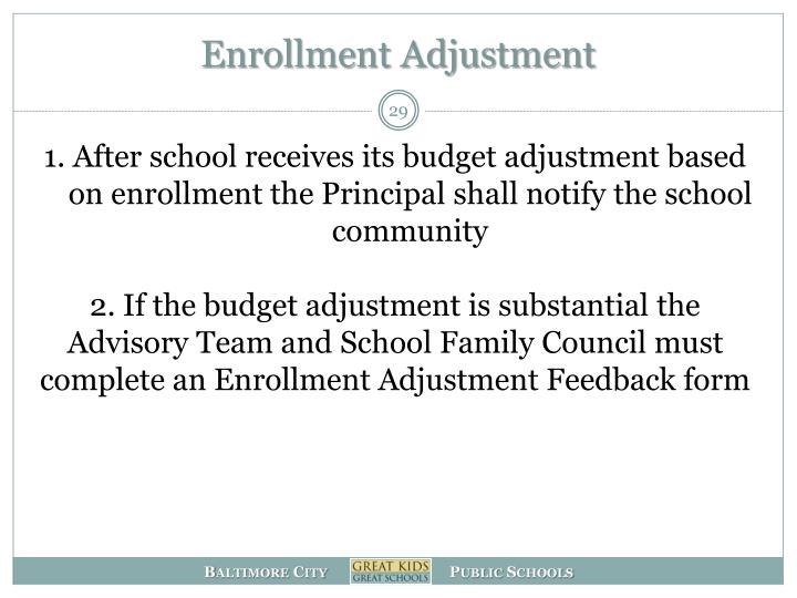 Enrollment Adjustment
