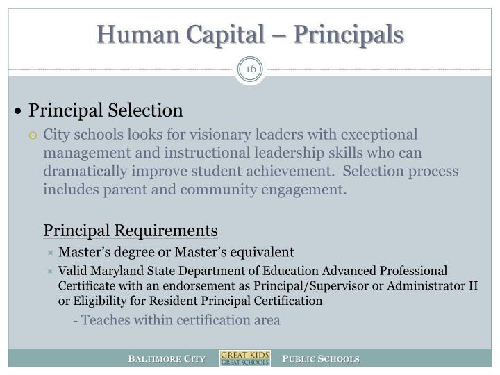 Human Capital – Principals