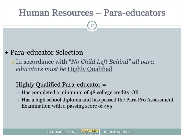 Human Resources – Para-educators