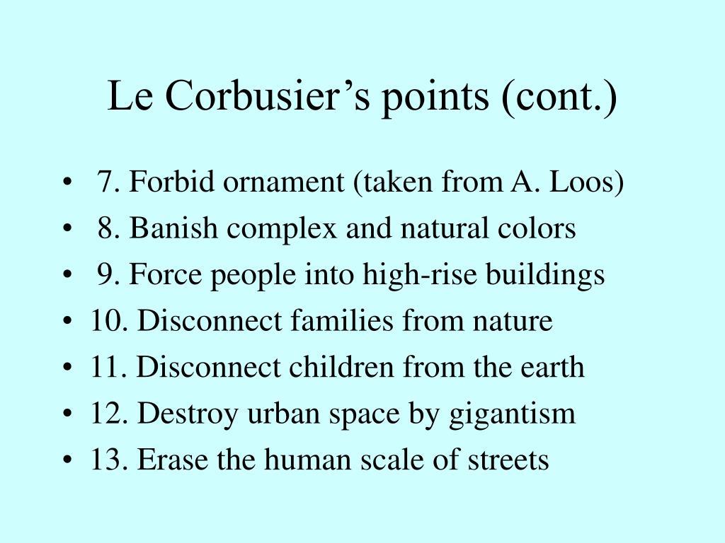 Le Corbusier's points (cont.)