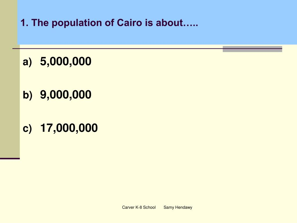 1. The population of Cairo is about…..