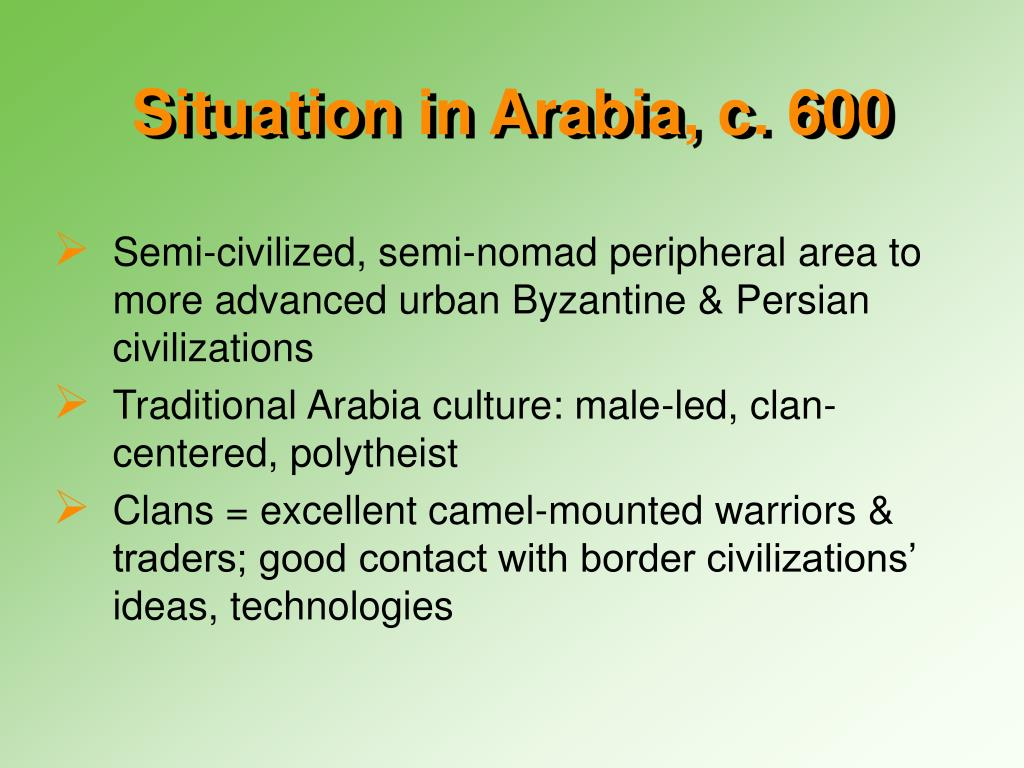 Situation in Arabia, c. 600